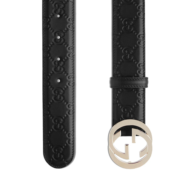 Gucci All Over Logo Leather Belt