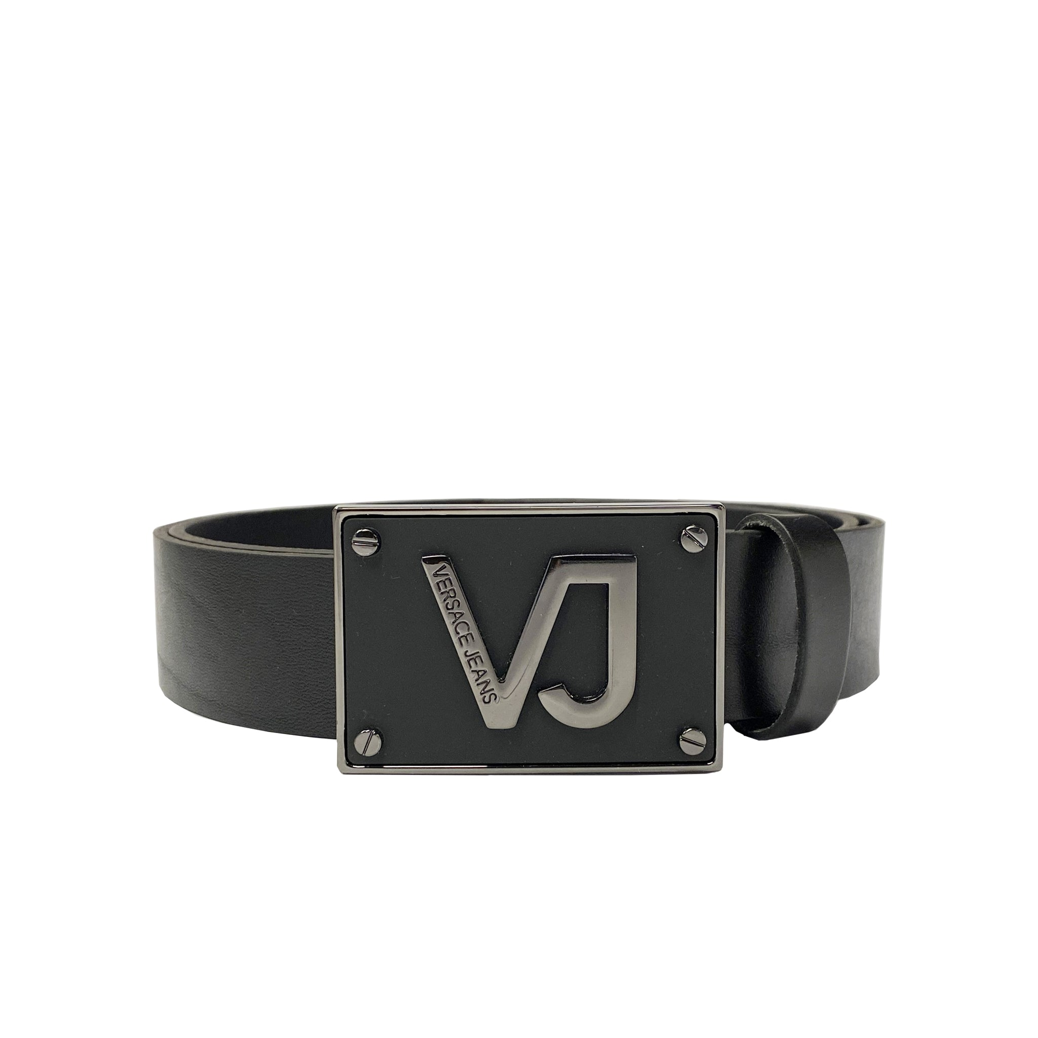 Versace Jeans Logo Buckle Leather Belt