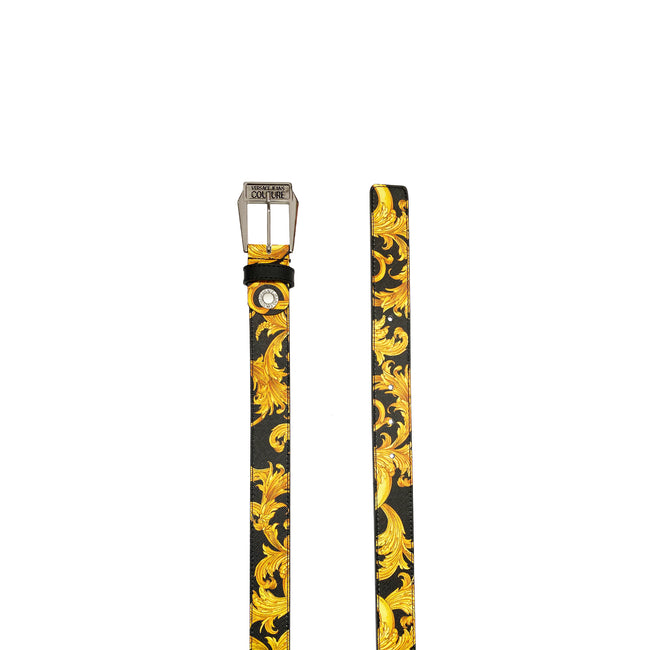 Versace Jeans Couture Baroque Print Leather Belt