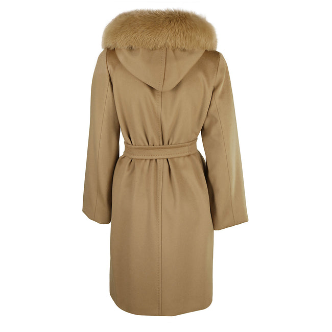 Max Mara Studio Hooded Mango Wool Coat