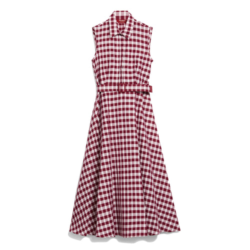 Max Mara Studio Checked Ramie Midi Shirt Dress