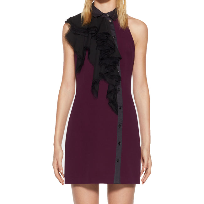 Versace Crepe Silk Ruffled Mini Dress