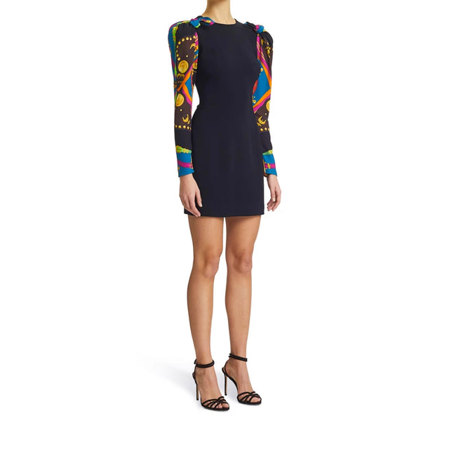 Versace Contrast Sleeved Mini Dress