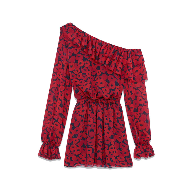 Yves Saint Laurent Poppy Print Silk Dress