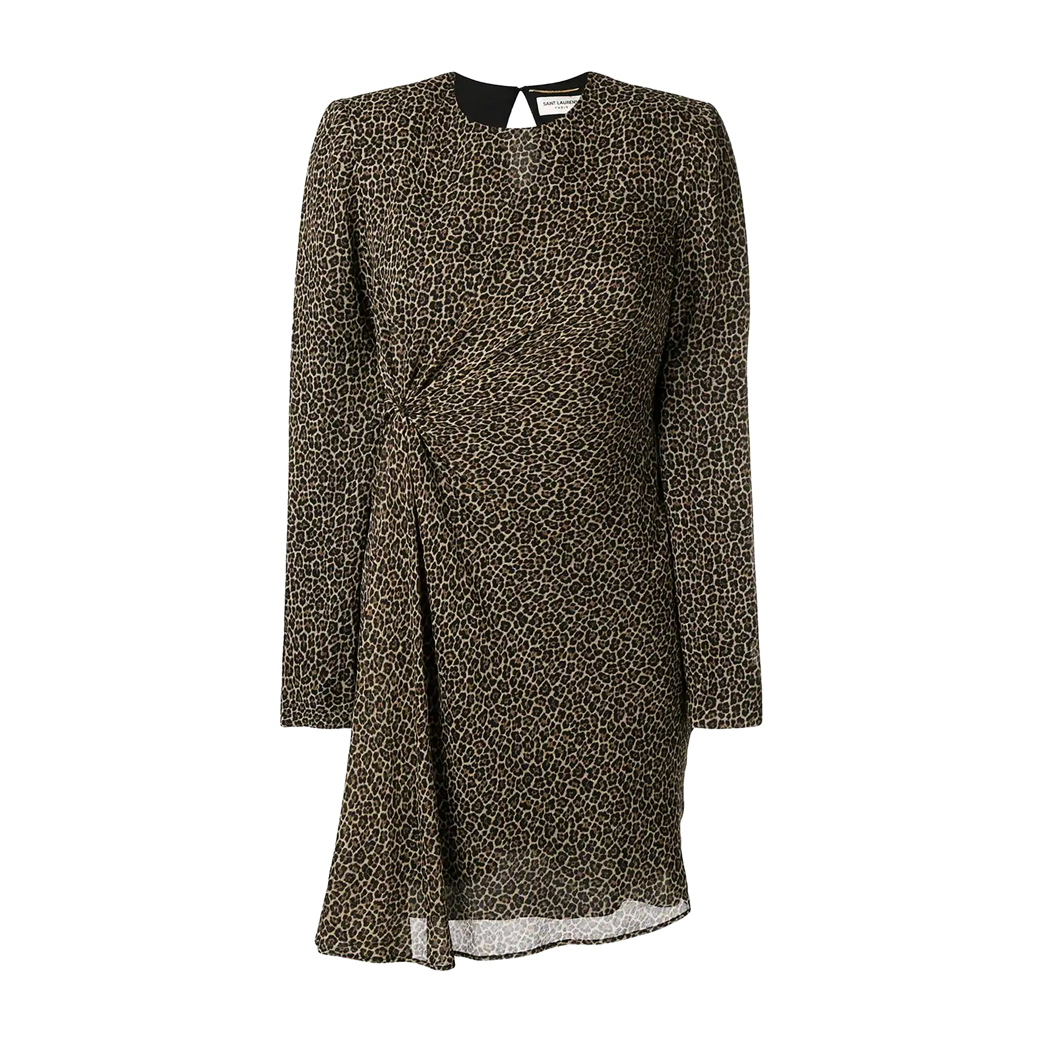Yves Saint Laurent Leopard Print Ruched Dress