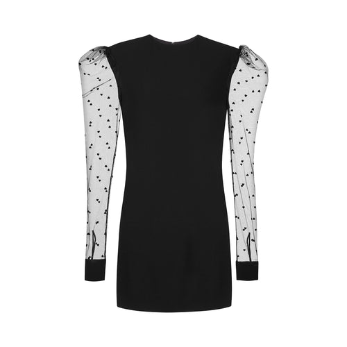 Yves Saint Laurent Mesh Sleeves Mini Dress