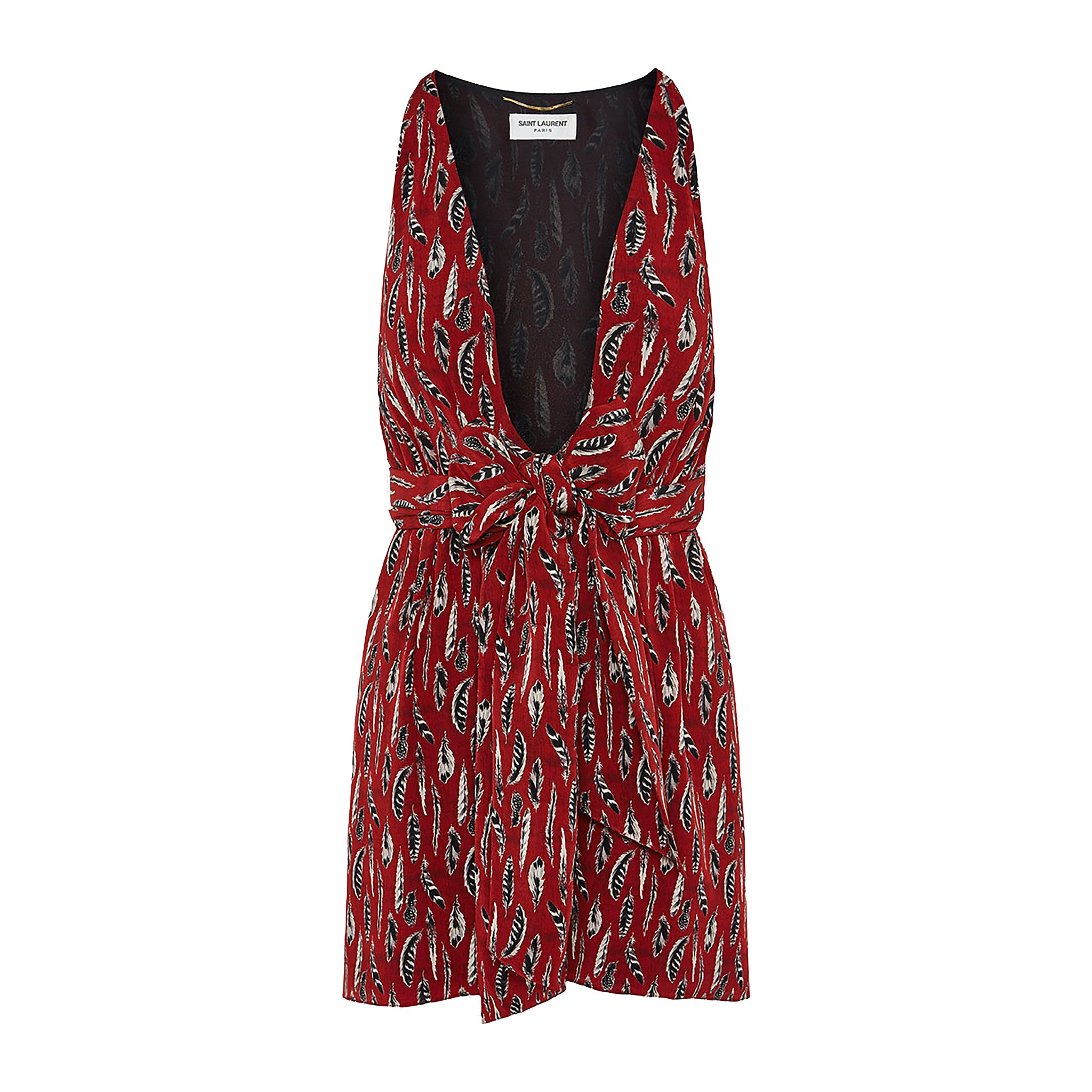 Yves Saint Laurent Feather Print Mini Dress