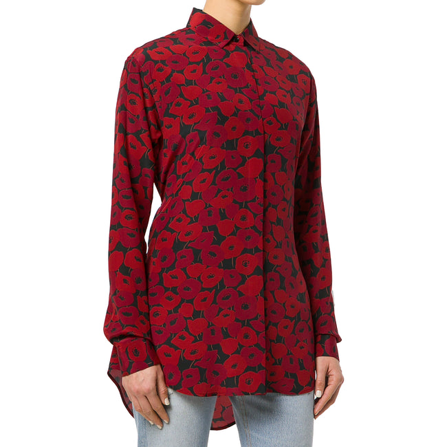 Yves Saint Laurent Poppy Print Silk Long Shirt