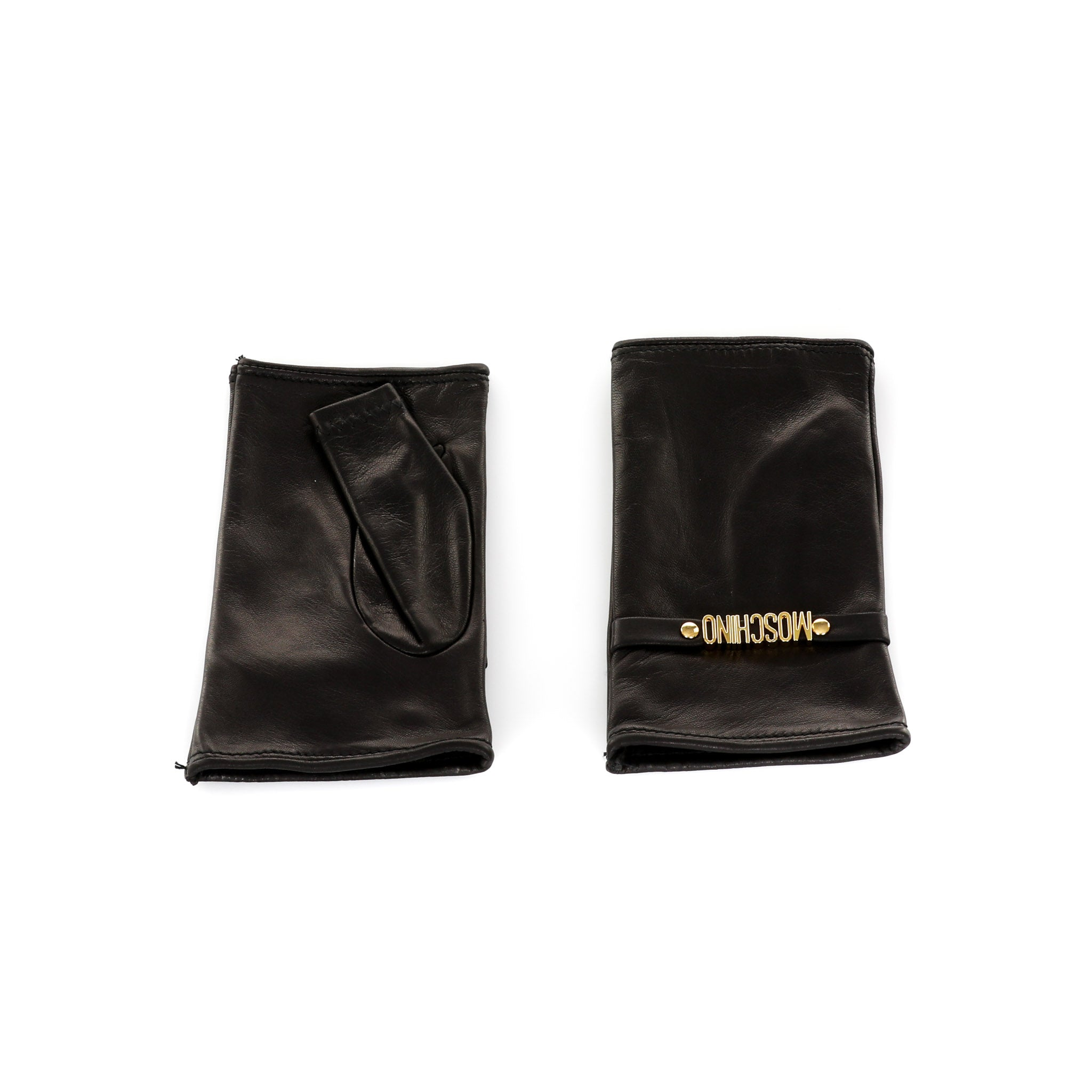 Moschino Leather Fingerless Gloves-MOSCHINO-SHOPATVOI.COM - Luxury Fashion Designer