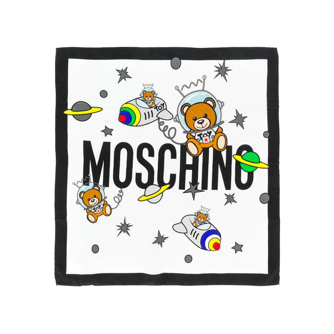 Moschino Spacebear Silk Logo Scarf