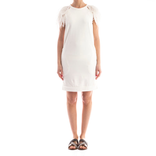 Brunello Cucinelli Feather-Trimmed Cotton Dress-BRUNELLO CUCINELLI-SHOPATVOI.COM - Luxury Fashion Designer