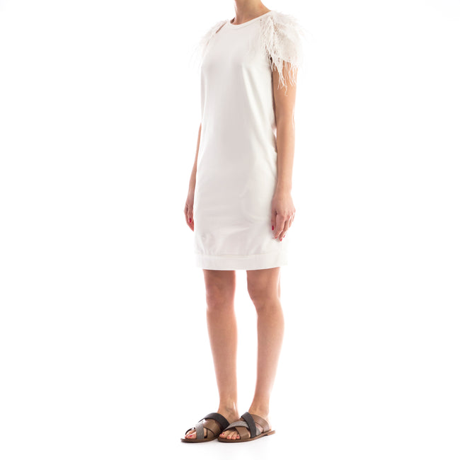 Feather-Trimmed Cotton Dress-BRUNELLO CUCINELLI-SHOPATVOI.COM - Luxury Fashion Designer