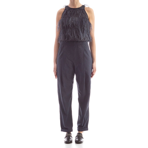Feather-Trimmed Jumpsuit-BRUNELLO CUCINELLI-SHOPATVOI.COM - Luxury Fashion Designer