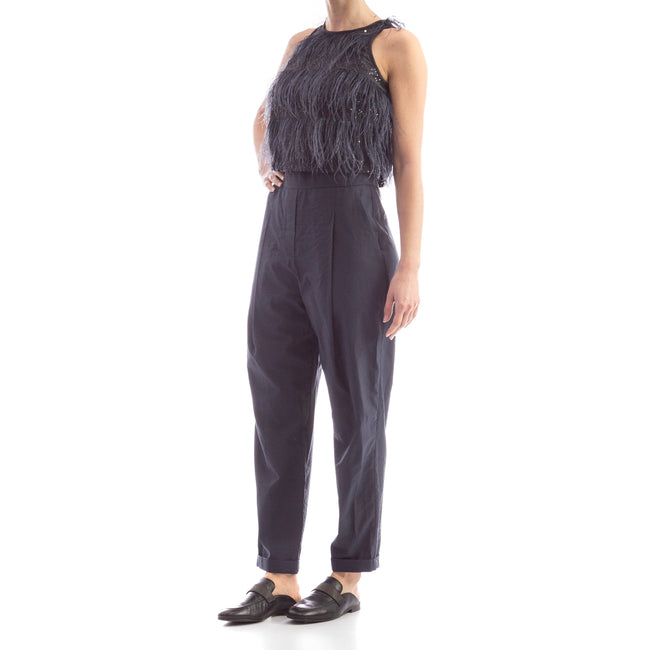 Brunello Cucinelli Feather-Trimmed Jumpsuit-BRUNELLO CUCINELLI-SHOPATVOI.COM - Luxury Fashion Designer