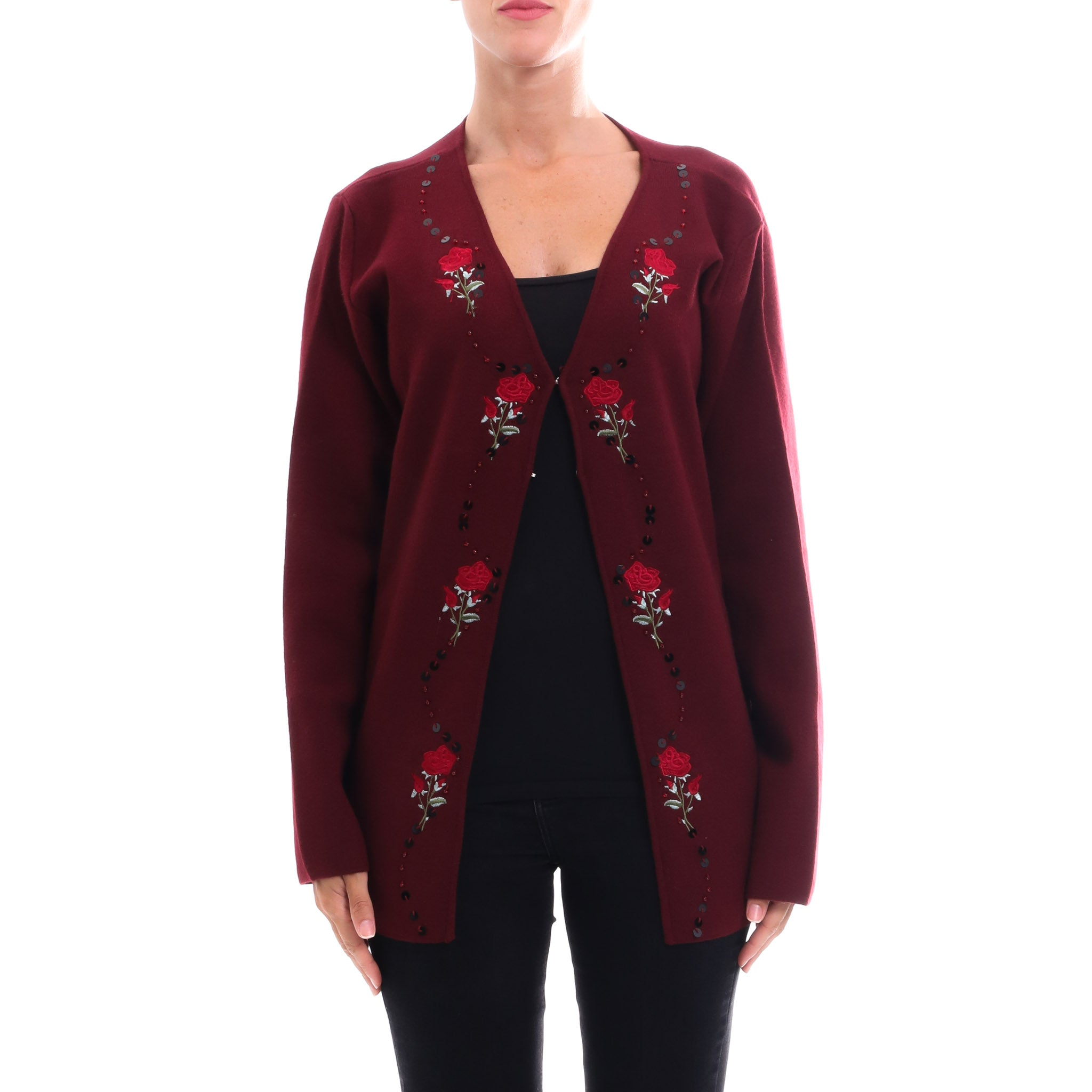 Cashmere Company Embroidered Wool Cardigan