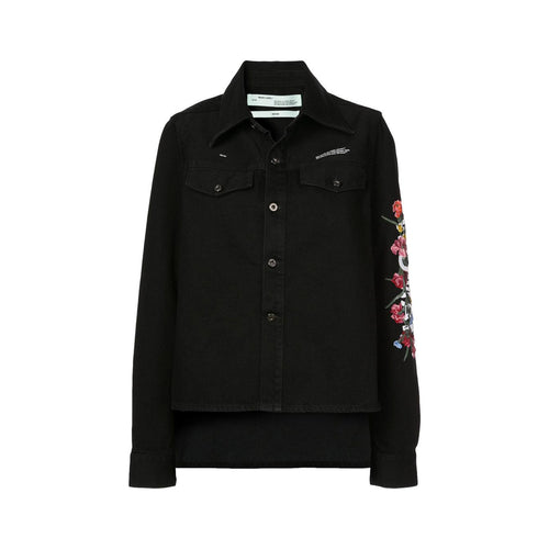 Off White Embroidered Denim Jacket