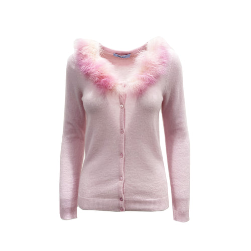Blumarine Feathers Trim Wool Cardigan