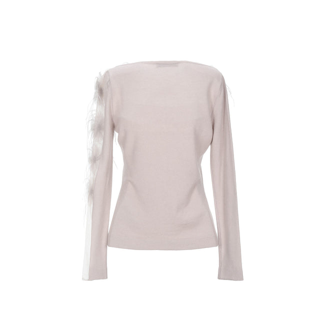 Blumarine Feathers Trim Wool Sweater
