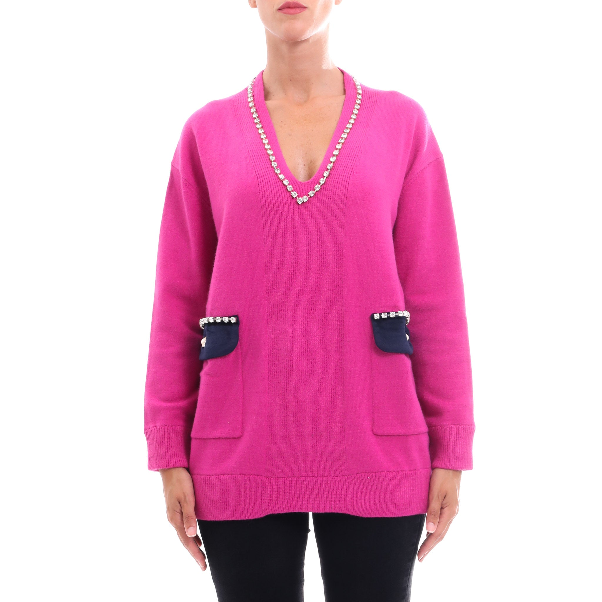 Cashmere Company Crystal Embellished Sweater