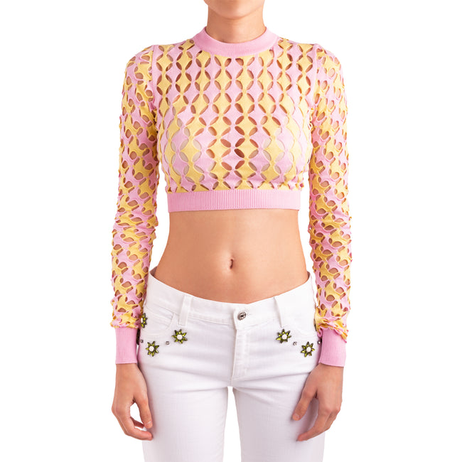 Just Cavalli Cropped Perforated Cotton Top