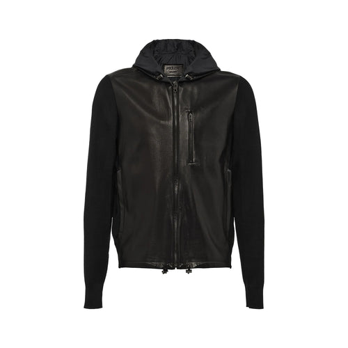 Prada Hooded Leather and Wool Jacket