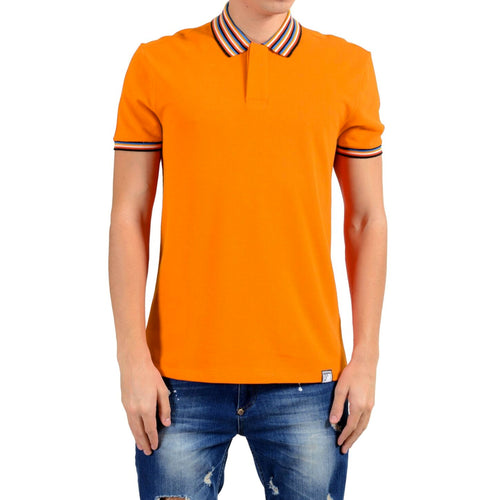 Versace Collection Striped Collar Cotton Polo