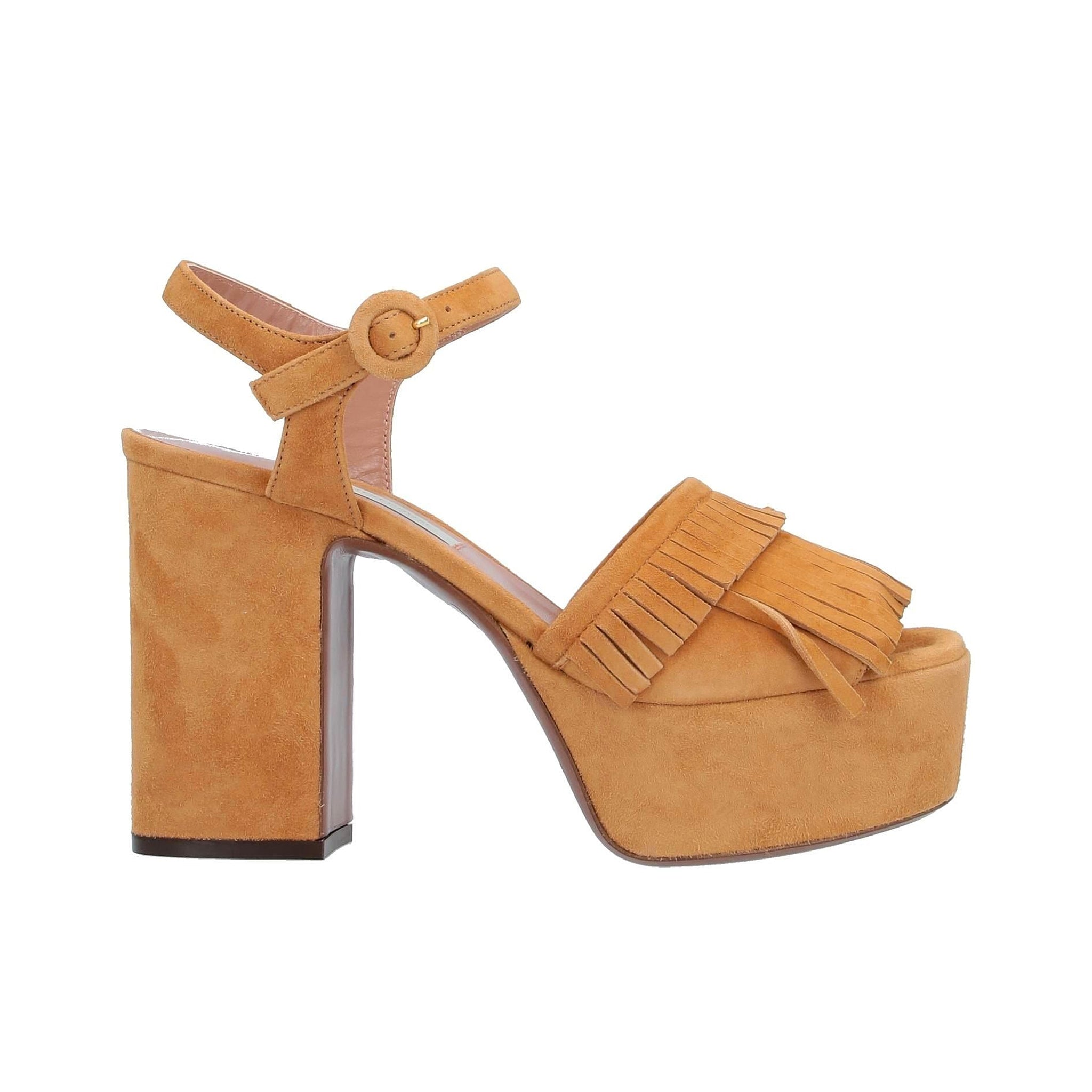 L'Autre Chose Suede Fringed Heel Sandals
