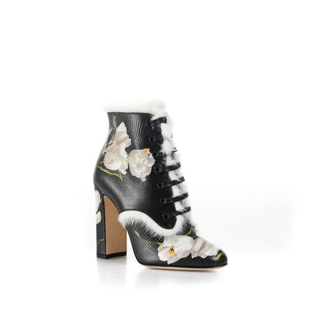 Dolce & Gabbana Floral Leather Booties