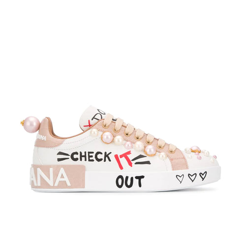 Dolce & Gabbana Graphic Print Leather Sneakers