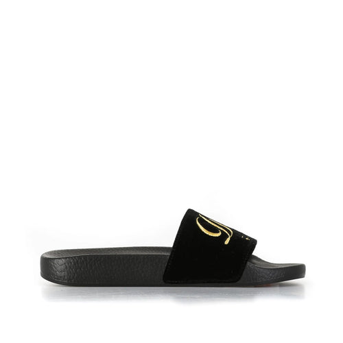 Dolce & Gabbana Embroidered Velvet Sliders-DOLCE & GABBANA-SHOPATVOI.COM - Luxury Fashion Designer