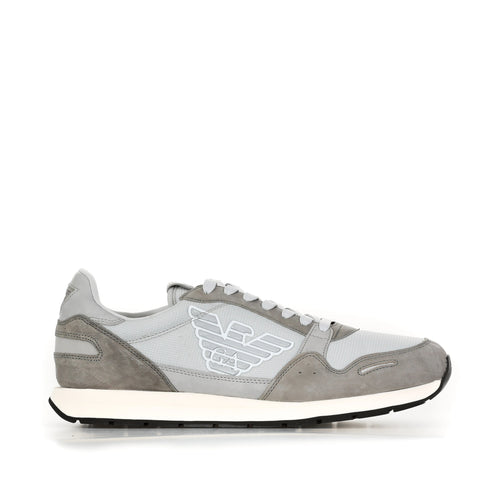 Emporio Armani Leather And Fabric Sneakers-EMPORIO ARMANI-SHOPATVOI.COM - Luxury Fashion Designer