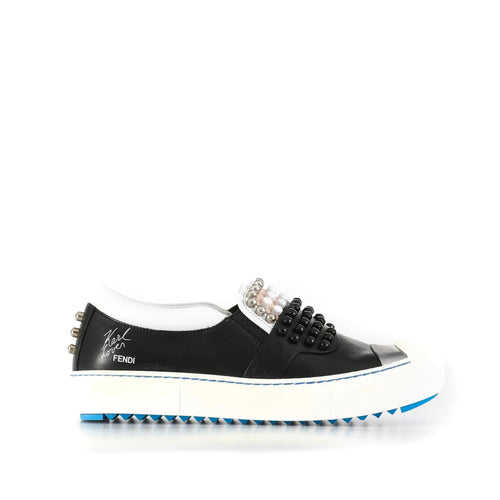Fendi Leather Slip On Sneakers-FENDI-SHOPATVOI.COM - Luxury Fashion Designer
