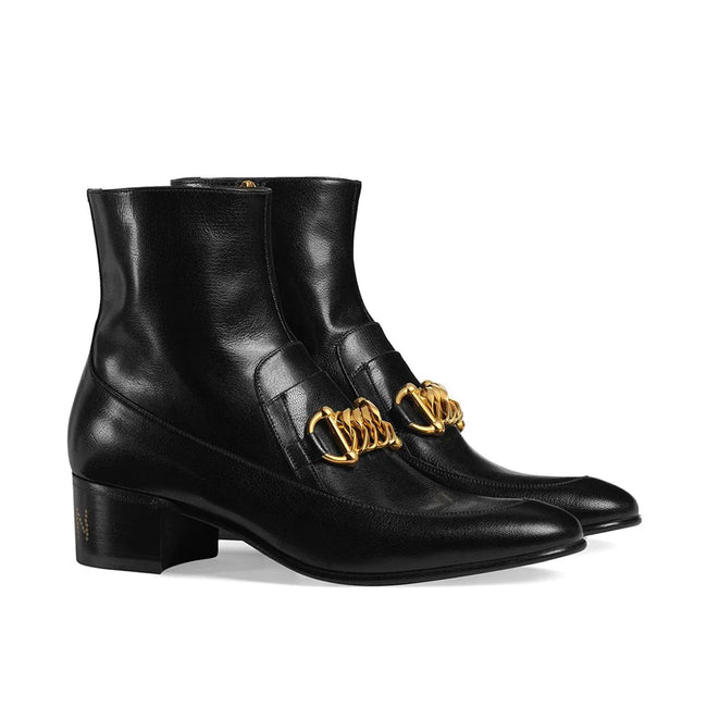 Gucci Leather Horsebit Chain Boots