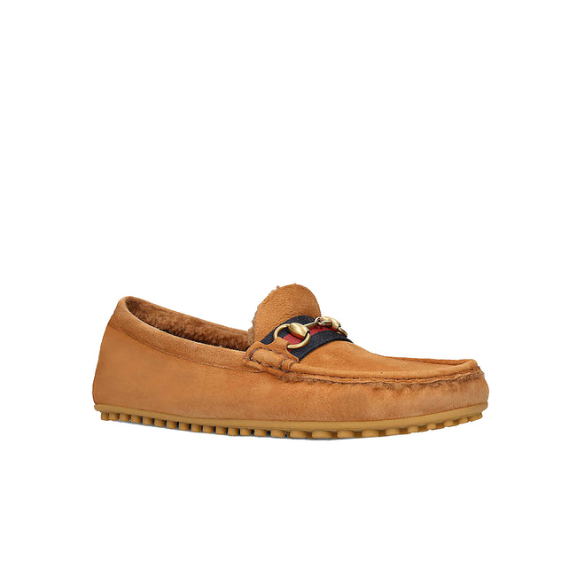 Gucci Shearling-Lined Suede Loafer