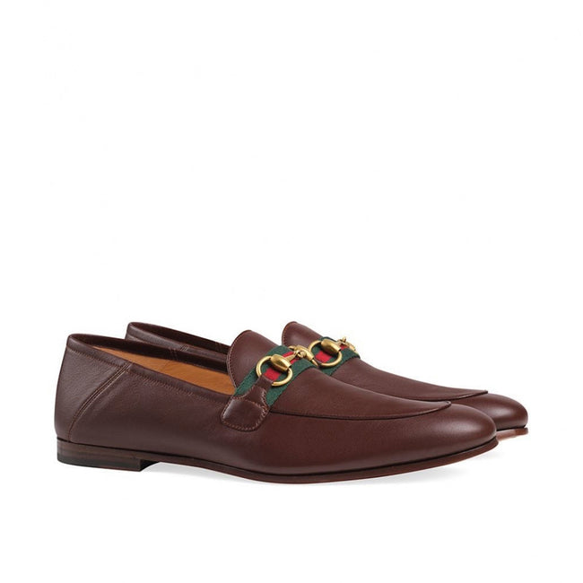 Gucci Web Horsebit Leather Loafers