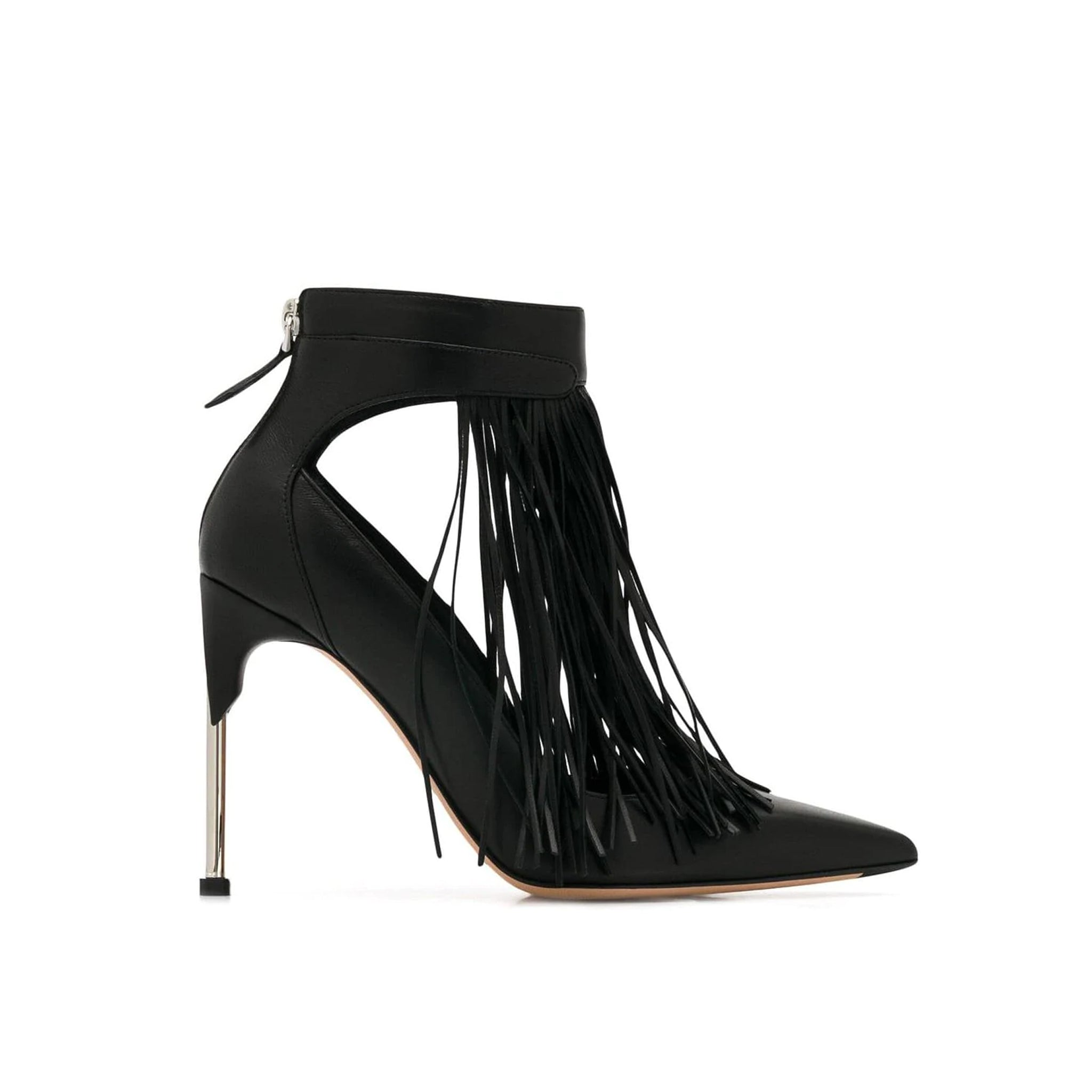 Alexander Mcqueen Pin Heel Leather Fringe Pumps