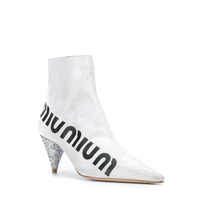 Miu Miu Crackled Logo Boots
