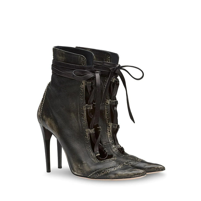 Miu Miu Distressed Lace Up Boots