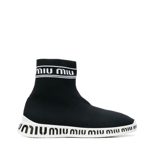 Miu Miu High Top Logo Sock Sneakers