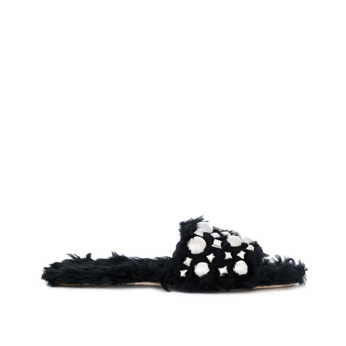 Miu Miu Furry Studded Slippers