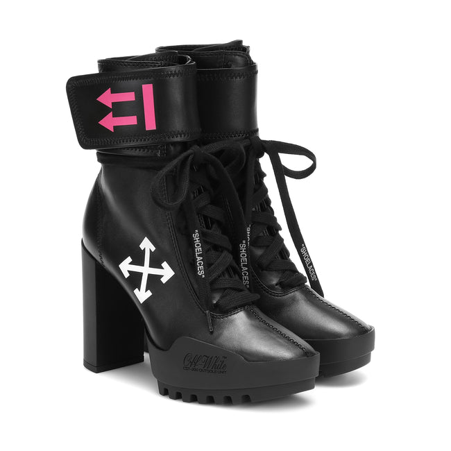 Off White Moto Leather Ankle Boots