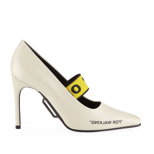 "Off White ""for Walking"" Leather Pumps"
