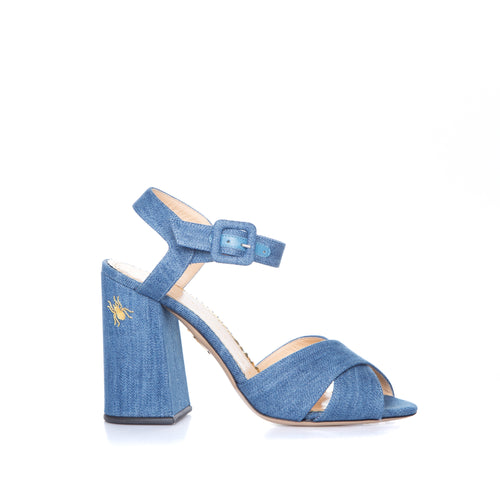 Denim Heel Sandals-CHARLOTTE OLYMPIA-SHOPATVOI.COM - Luxury Fashion Designer