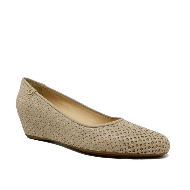 Pakerson Perforated Leather Wedge Pumps