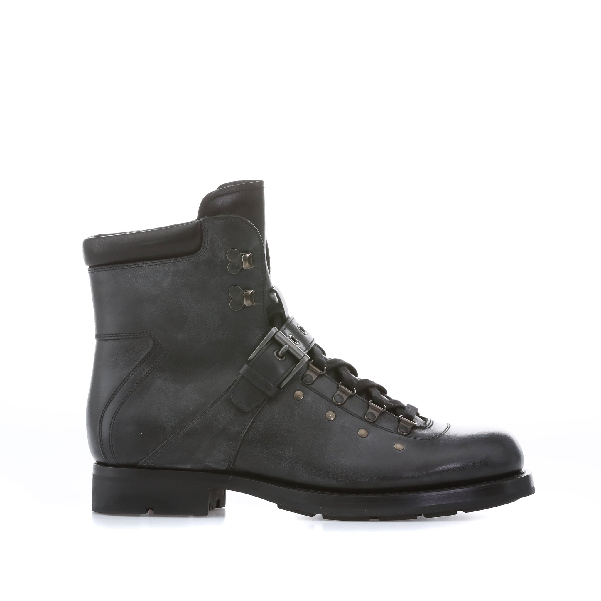 Prada Lace-Up Leather Boots