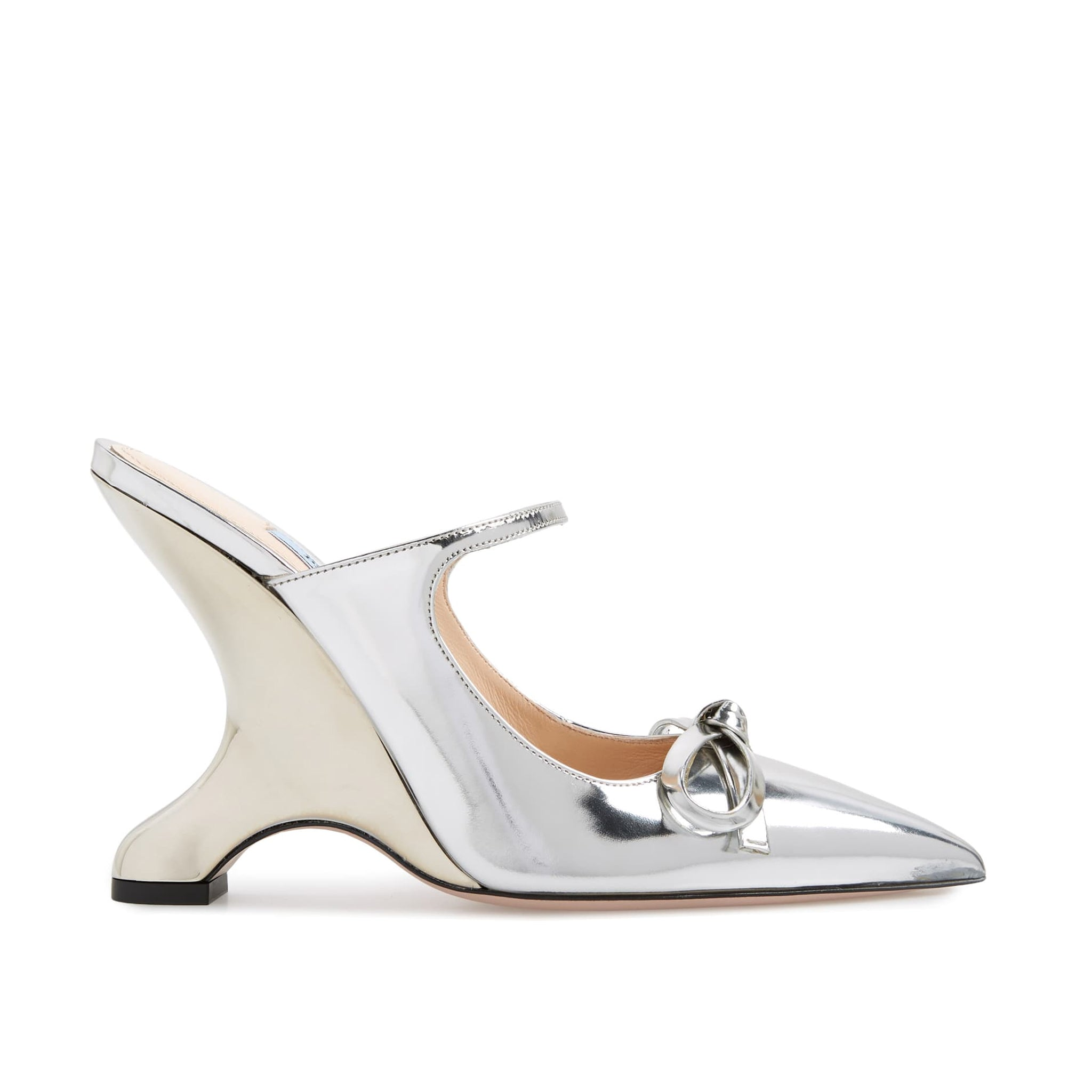 Prada Metallic Angled Heel Pumps