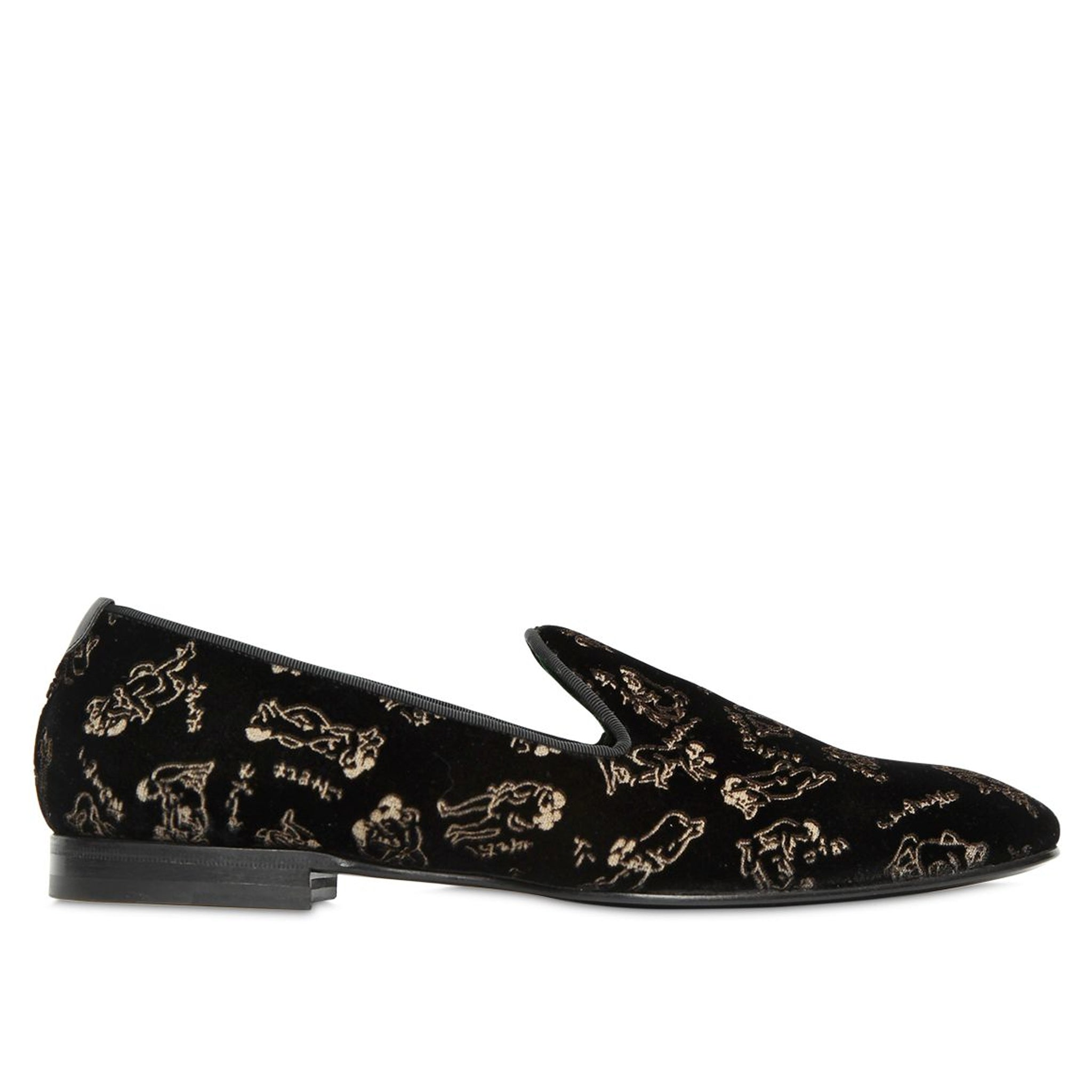 Max Verre Embroidered Velvet Loafers