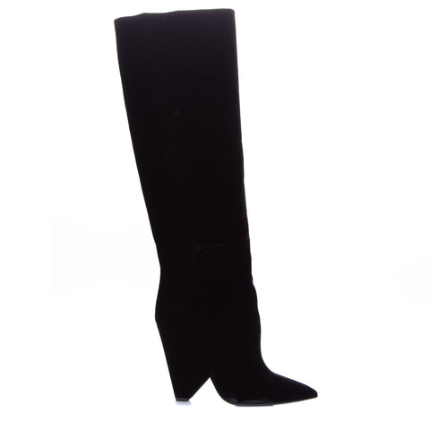 Yves Saint Laurent Niki Wedge Boot In Velvet-YVES SAINT LAURENT-SHOPATVOI.COM - Luxury Fashion Designer