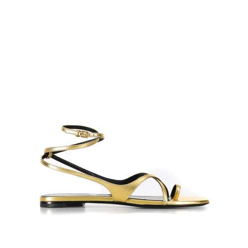 Yves Saint Laurent Flat Leather Sandals-YVES SAINT LAURENT-SHOPATVOI.COM - Luxury Fashion Designer