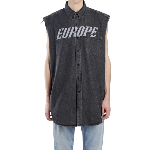 Balenciaga Denim Sleeveles Shirt